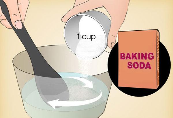 Cách 5: Sử dụng baking soda và giấm.