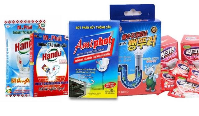 Giới thiệu các loại bột - nước - dụng cụ thông cầu cống do công ty phân phối.