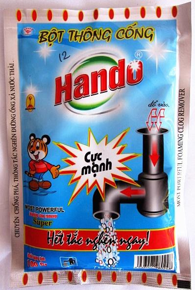 Hướng dẫn cách sử dụng bột thông cống Hando.